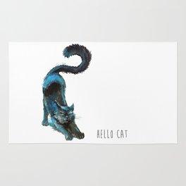 Black Blue Cat Stretching Drawing  Rug