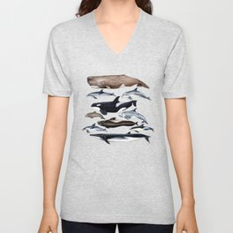 Atlantic whales, dolphins and orca Unisex V-Neck