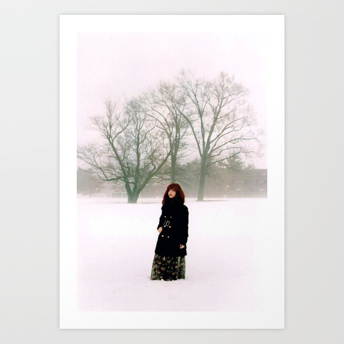 Hints of Red in Fog Art Print