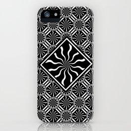 Wavy Black and White Diamond Pinwheels and Stripes 2 Digital Illustration Artwork iPhone Case