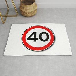 40 MPH Limit Traffic Sign Rug