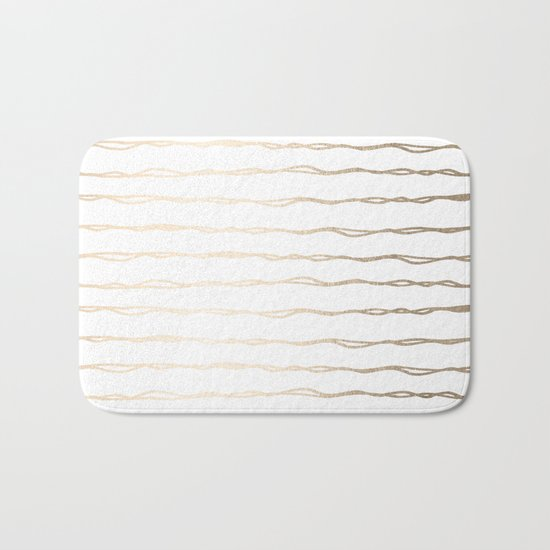Simply Wavy Lines in White Gold Sands on White Bath Mat