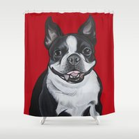 coco Shower Curtains featuring Coco by Pawblo Picasso
