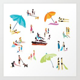 Beach Crowd Art Print