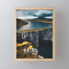 trekking at the faroe islands Framed Mini Art Print