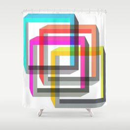 Colorful impossible 3D shapes overlapping. Shower Curtain
