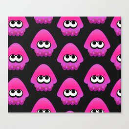 Splatoon Squid Pattern Pink Canvas Print