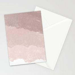 Modern white rose gold color block ombre pattern Stationery Cards