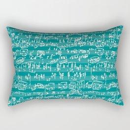 Hand Written Sheet Music // Teal Rectangular Pillow