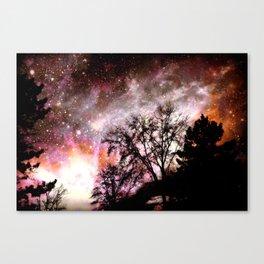 Black Trees Pink Peach Sorbet Space Canvas Print