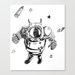 Funny Galaxy Space Black Astronaut Cosmonaut Spaceman Canvas Print