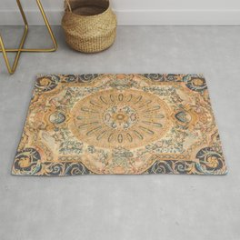 Louvre Fame Carpet // 16th Century Sunflower Yellow Blue Gold Colorful Ornate Accent Rug Pattern Rug