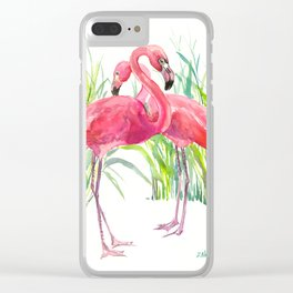 Flamingos, two flamingo birds, pink green art Clear iPhone Case
