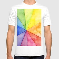 Rainbow Watercolor Geometric Pattern MEDIUM Mens Fitted Tee White