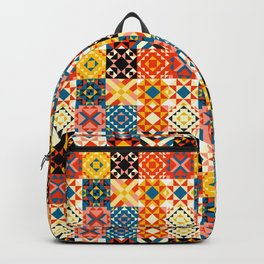 Maroccan tiles pattern with red an blue no2 Backpack
