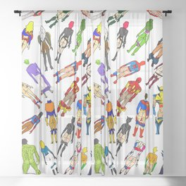 Superhero Butts with Villians - Light Pattern Sheer Curtain