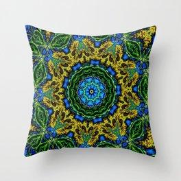 Lovely Healing Mandalas in Brilliant Colors: Hunter Green, Green, Navy, Light Blue, and Goldenrod Throw Pillow