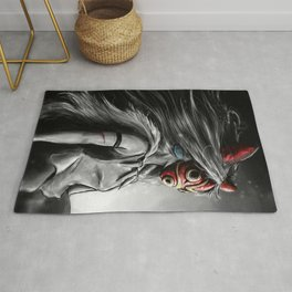 Miyazaki's Mononoke Hime Digital Painting the Wolf Princess Warrior Color Variation Rug