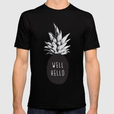 Well Hello MEDIUM Black Mens Fitted Tee
