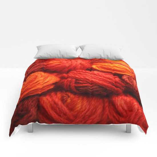 Many Balls of Wool in Shades of Red Comforters
