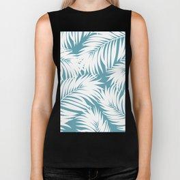 Palm Tree Fronds White on Soft Blue Hawaii Tropical Décor Biker Tank