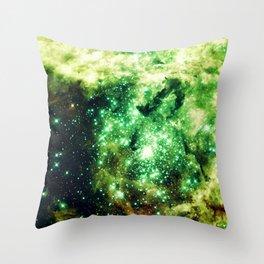 Lime Green Grass Galaxy Nebula Throw Pillow