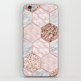Rose gold dreaming - marble hexagons iPhone Skin