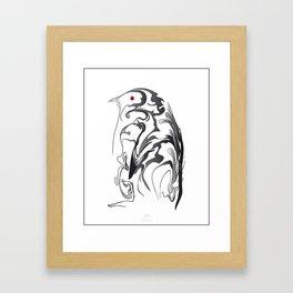 Penguin pigeon 1. Black on white background. Framed Art Print
