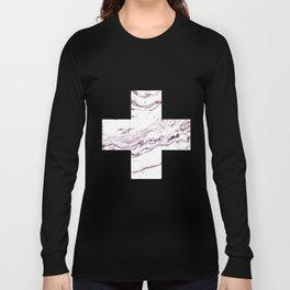 Swiss cross marble dark red Long Sleeve T-shirt