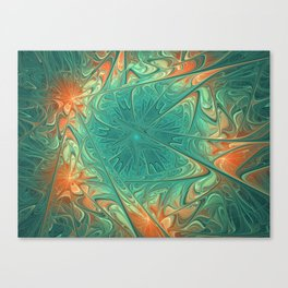 Frozen Flowers I Abstract orange flower, ice mint green water, cute floral pattern Canvas Print