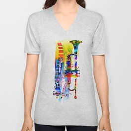 Abstract colorful music instrument painting.Trumpet, piano, musical notes, color splash, treble clef Unisex V-Neck