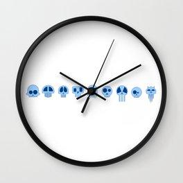 Nine Blue Skull Wall Clock