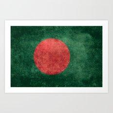 Flag of Bangladesh - Vintage Version Art Print