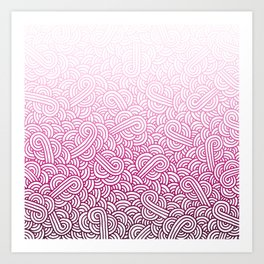 Gradient pink and white swirls doodles Art Print