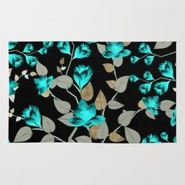 Modern abstract teal black faux gold floral Rug