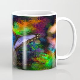 Blue Morpho Butterfly With Many Colors By Annie Zeno  Coffee Mug