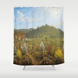 House and Garden Oil Painting Australian Artist John Glover Shower Curtain