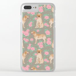 Yellow Lab florals labrador retriever dog breed flower pet portraits by pet friendly Clear iPhone Case