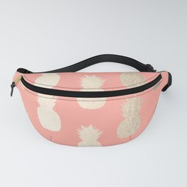 Gold Pineapples on Coral Pink Fanny Pack