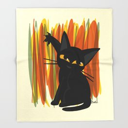 Cat artist Throw Blanket