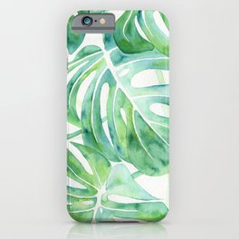 Monstera Leaf Pattern iPhone Case