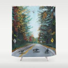 Turkey Crossing Autumn Trees Art Shower Curtain