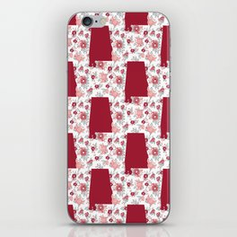 Alabama state silhouette university of alabama crimson tide floral college football gifts iPhone Skin