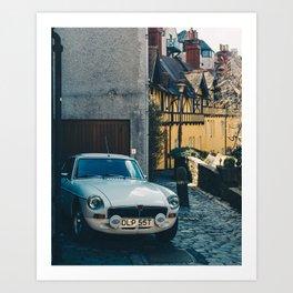MG in Dean Village. Edinburgh. Art Print