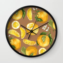 Juicy Citrus Pattern with Fresh Oranges Wall Clock