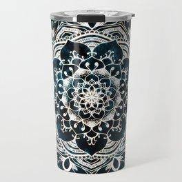 Glowing Spirit Mandala Blue White Travel Mug