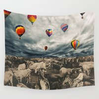 balloons Wall Tapestries featuring Balloons by Mrs Araneae