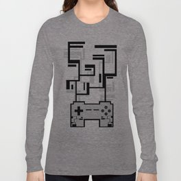 8-BIT JOYSTICK (GREY) Long Sleeve T-shirt