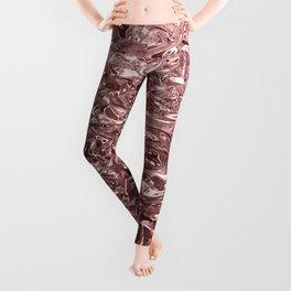 Rose Gold Pink Liquid Metallic Chrome Metal Leggings