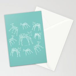 Animals mint and white pattern Stationery Cards